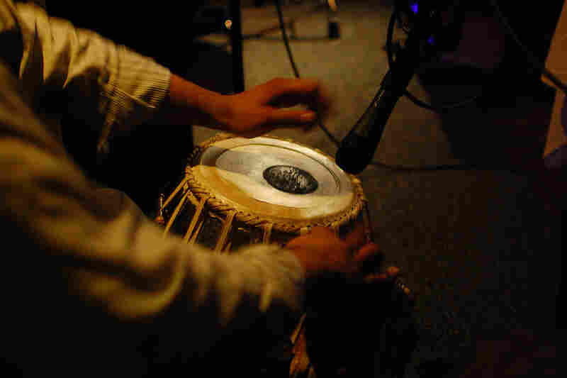 Sameer Gupta brought two tabla drums with him from New York.