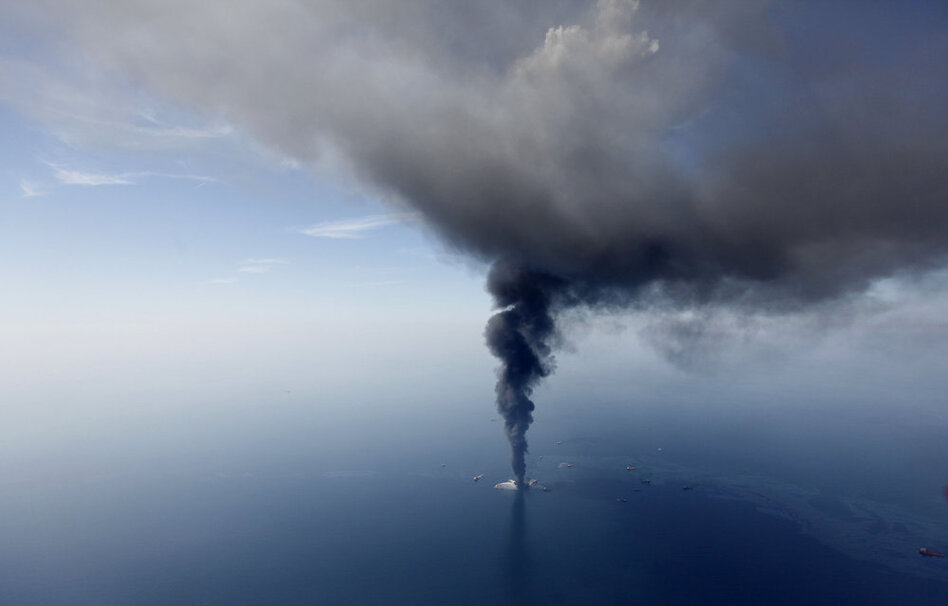 In this aerial photo taken April 21 more than 50 miles southeast of Venice, La., the Deepwater Horizon oil rig burns.