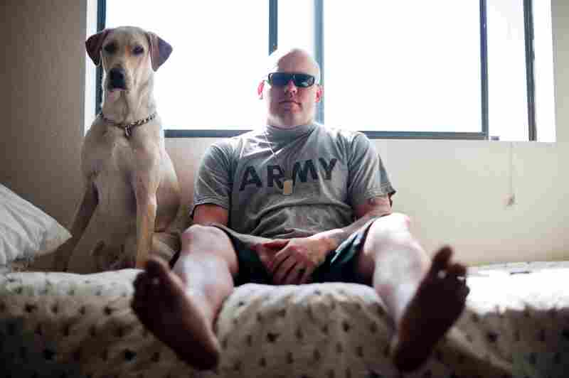 Sgt. Brandon Sanford was a dog handler who was in two roadside blasts in Iraq. After two years of seizures, headaches and a loss of memory, he is now an inpatient at Mentis. He spends eight hours a day doing rehabilitaion exercises. He is seen here with his service dog, Harley.
