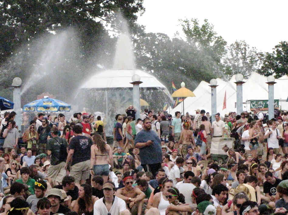 A huge crowd gathers at a fountain at Bonnaroo