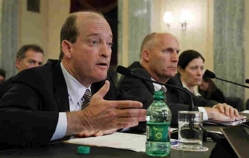 BP Chairman and President Lamar McKay (left), with Transocean President and CEO Steven Newman (center) and Applied Science Associates Principal Deborah French McCay, testifies during a Senate Committee on Commerce, Science, and Transportation hearing May 18 on response efforts to the Gulf Coast oil spill.