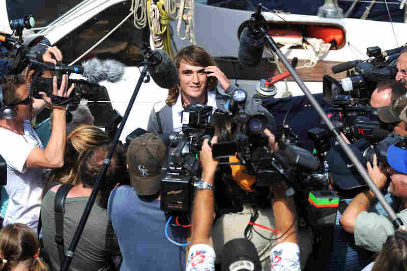 Zac Sunderland, 17, is greeted by media as he arrives at the harbor in Marina Del Rey, Calif. Zac — who is Abby Sunderland's brother — became the youngest person to sail around the world alone on July 16, 2009, and the first under the age of 18.