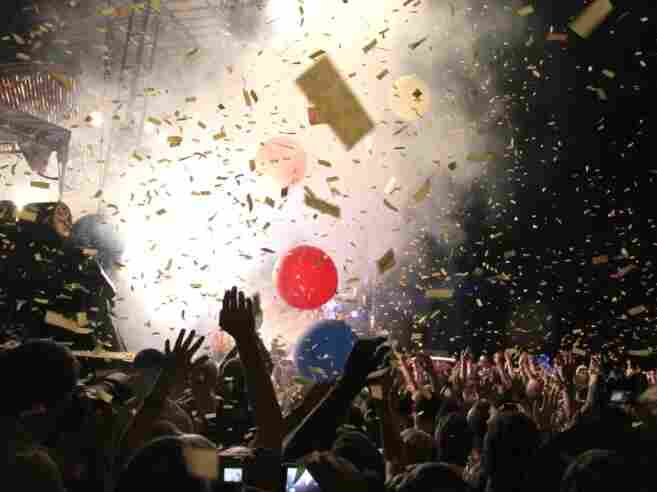 A crowd cheers The Flaming Lips; credit: Wills Glasspiegel