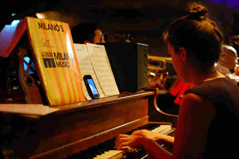 """Pianist Amy Bormet called up the changes to """"Here's That Rainy Day"""" on her iPhone."""