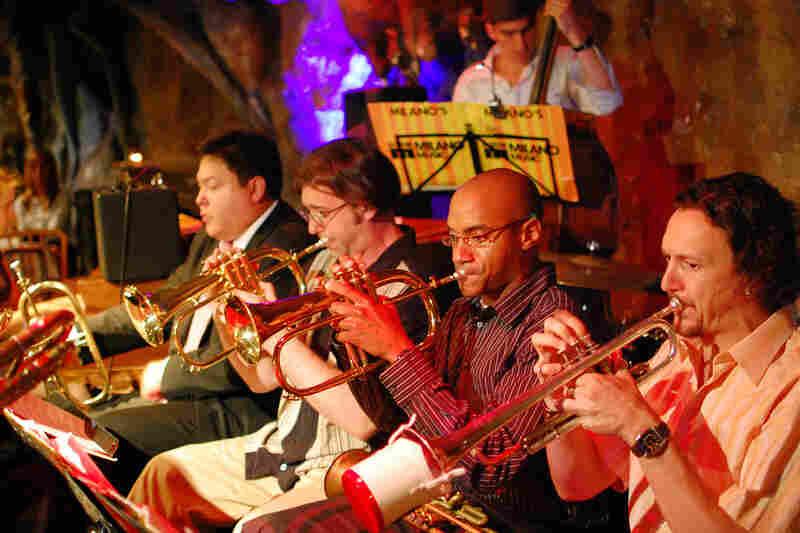 The trumpet section (L-R): Joe Herrera, Mark Chuvala, Leo Maxey, Brad Clements. Oliver Albertini plays bass.