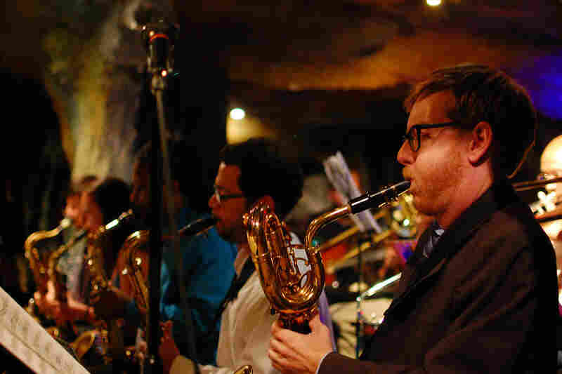 Brad Linde (right, baritone saxophone) is co-leader of the BCJO. The other saxophones (L-R): Elijah Jamal Balbed, Sarah Hughes, Brent Birckhead, Charles Phaneuf.