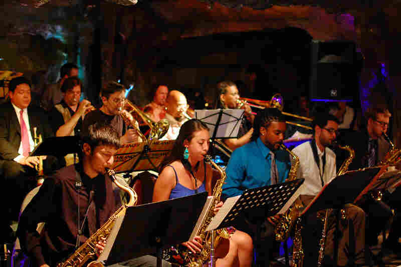 The horns of the Bohemian Caverns Jazz Orchestra.