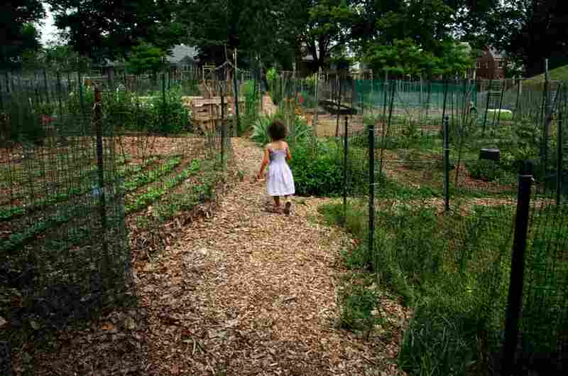 Veda heads out of the Friendship Community Garden after an afternoon of work.