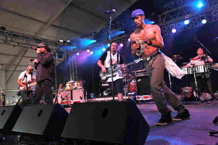 Ozomatli play a mean tambourine.