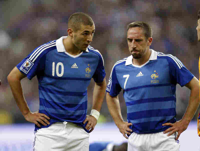 2010: In April, Franck Ribery (right) — widely considered to be France's best player — along with fellow French soccer players  Karim Benzema (left) and Sidney Govou (not pictured) were questioned in an investigation into an underage prostitution ring run out of a Paris nightclub.