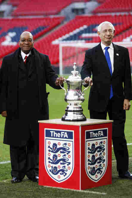 2010: England's Football Association chief, Lord David Triesman (right) seen here with South African president, Jacob Zuma, announced his resignation May 16 after secret tapes recorded him accusing Spain and Russia of conspiring to bribe 2010 World Cup referees.  Some say his actions have irreparably damaged England's chances of winning the 2018 World Cup bid.