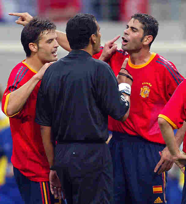 2002: During the quarter-final matchup between Spain and South Korea, two Spanish goals were disallowed by Egyptian referee Gamal Ghandour. Television footage showed that at least one of the goals was legitimate. The match caused an uproar and called into question the quality of match officials selected by FIFA.