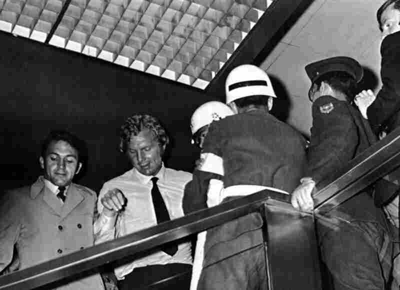 1970: Four days after England Football captain Bobby Moore's legendary performance against Brazil, he (in white shirt) was arrested in Bogota, Colombia, for allegedly stealing a diamond-encrusted bracelet from the Fuego Verde jewelry shop. He was released on the eve of the finals in Mexico after Prime Minister Harold Wilson intervened. The case was eventually dropped.