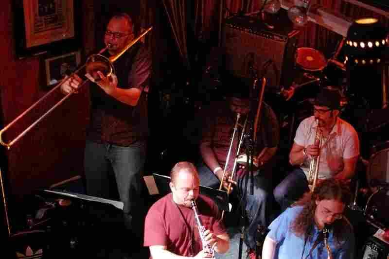 Richmond, Va.'s Fight The Big Bull drove seven hours up to New York to perform. Bryan Hooten solos on trombone, with Reggie Pace (trombone), Bob Miller (trumpet), Jason Scott (clarinet) and John Lilley (tenor saxophone) accompanying.