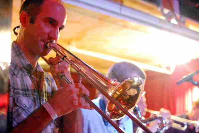 Trombonist Alan Ferber played a late night set with his nonet at Kenny's Castaways.