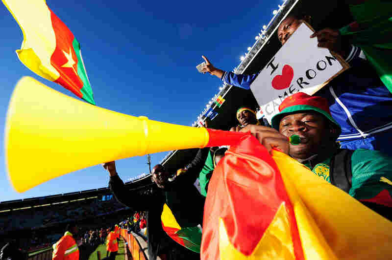 A Cameroon fan blows his vuvuzela at the Group E match between Japan and Cameroon.