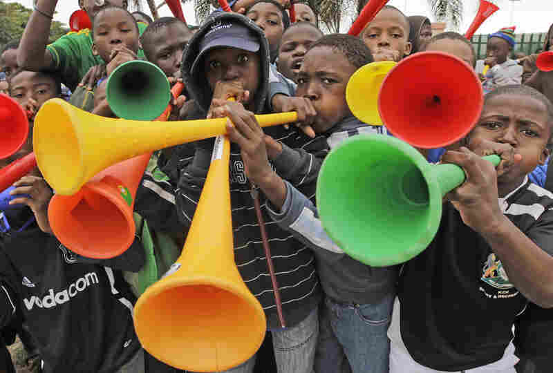 South African boys blow their vuvuzelas as they wait to attend the training session of the Cameroon national team in Durban, South Africa.