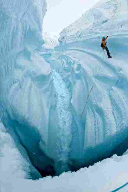 A field assistant rappels into a glacial crevasse. The bottom of the crevasse could open into a moulin, or vertical shaft, through which a lake on the surface might drain to the depths of the ice sheet.