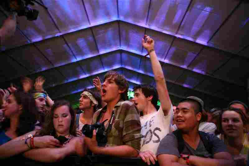 The crowd watches The Dodos perform at Bonnaroo 2010.