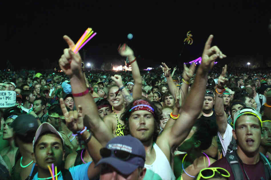 The crowd celebrates during Dave Matthews Band's set at Bonnaroo 2010.