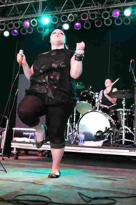 The Gossip's lead vocalist, Beth Ditto, performs at Bonnaroo 2010.