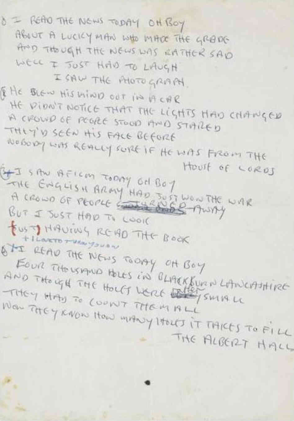 Lennon Day In Life Manuscript