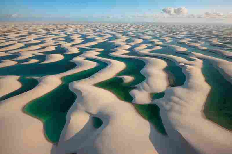 Ribbons of sand dunes trap the rains in Brazil's Lencois Maranhenses National Park.