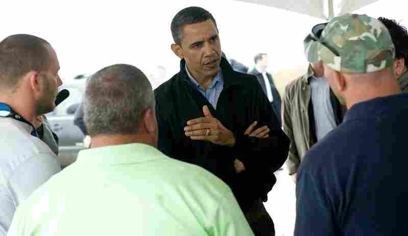 President Obama speaks with local fishermen about how they are affected by the oil spill in Venice, La., on May 2.