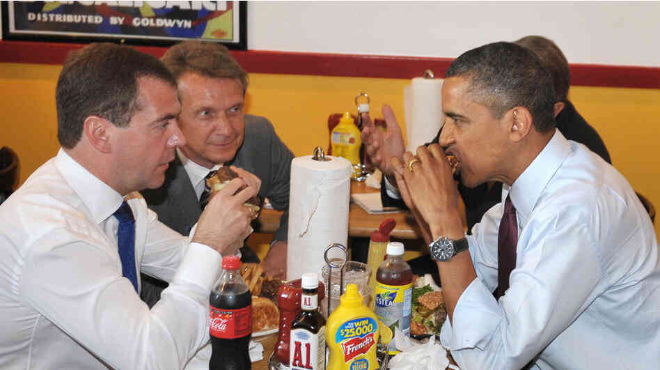 ... In Tow, Barack Obama Returns To Ray's Hell Burger : The Two-Way : NPR