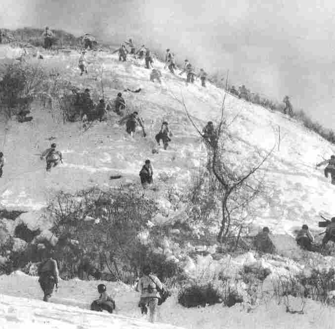Lines of Chinese infantry on a hilltop position in their shock offensive of November 1950.