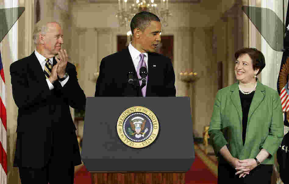 Obama introduces Kagan as his choice to replace retiring Supreme Court Justice John Paul Stevens in the East Room of the White House on May 10, as Vice President Joe Biden applaudes.