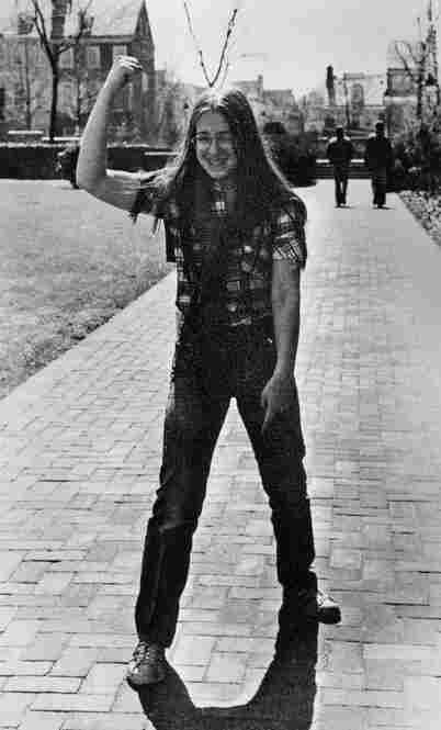 Kagan graduated from Hunter College High School, a publicly funded school for gifted students on Manhattan's Upper East Side, in 1977. Here, she raises her arm during a class trip to Philadelphia, in a photo from the yearbook.