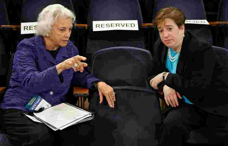 Former Supreme Court Justice Sandra Day O'Connor talks with Kagan during a forum on the state of the judiciary at Georgetown University Law Cnter May 20, 2009. If confirmed, Kagan would be the fourth woman to serve on the high court.