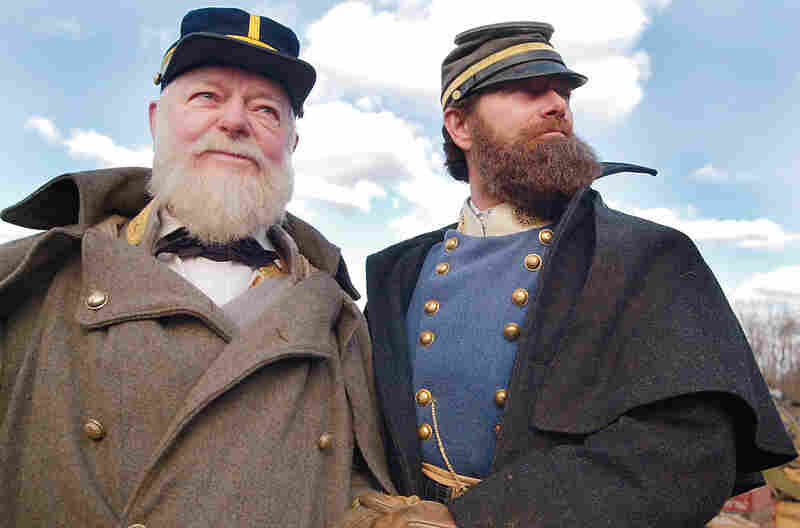 Byrd stands beside actor Stephen Lang during the filming of Gods and Generals in November 2001 in Keedysville, Md.  Byrd, then 84, played Confederate Brig. Gen. Paul J. Semmes in a cameo role. Byrd said he took the nonspeaking role to help stimulate interest in American history, a subject on which he sometimes lectured his colleagues.
