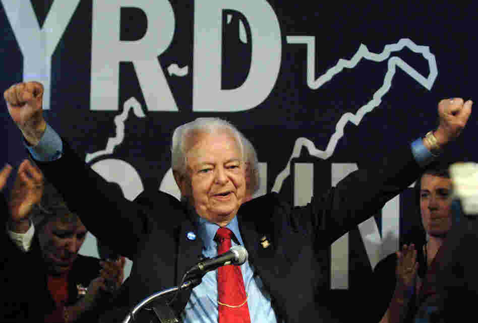 Byrd celebrates his re-election in 2006, in Charleston, W.Va. Byrd made history when he defeated Morgantown businessman John Raese to win a record ninth term in the U.S. Senate.