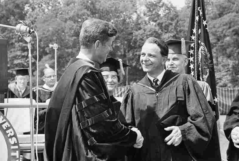 Byrd greets President Kennedy at American University in Washington in 1963. Byrd earned his law degree from the university that year, graduating cum laude after 10 years of night school while serving in Congress. The university gave Kennedy an honorary doctor of laws degree.
