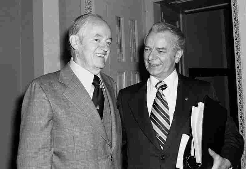 Byrd chats with Minnesota Sen. Hubert Humphrey in January 1977 on Capitol Hill, after Humphrey withdrew from the race to be Senate majority leader. Byrd was elected by a verbal vote to succeed the retiring Sen. Mike Mansfield.