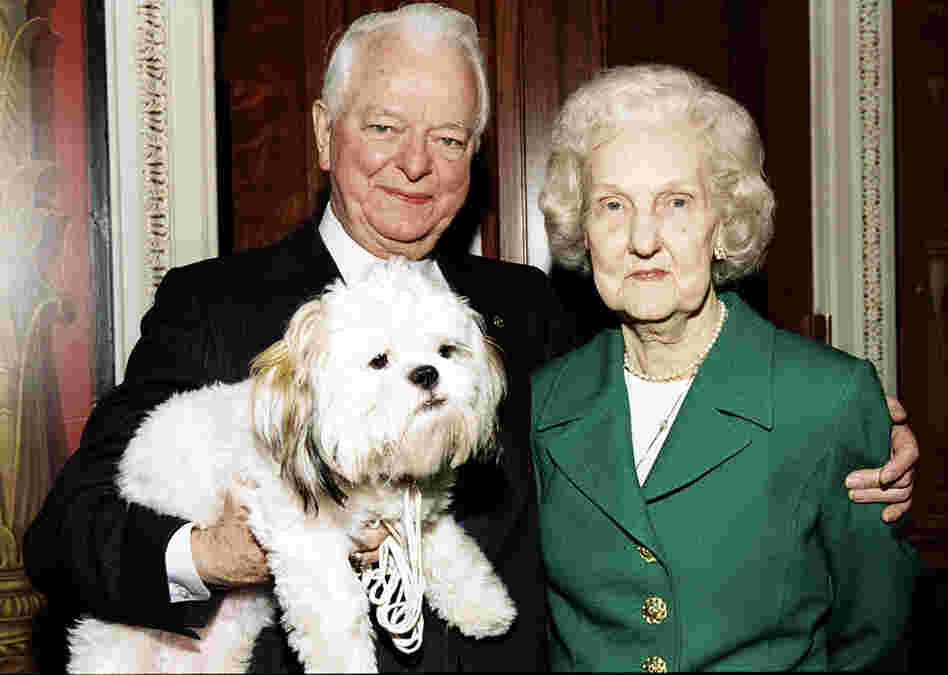 Byrd poses with his wife, Erma, and their dog, Trouble, during a visit at Byrd's Capitol Hill office.