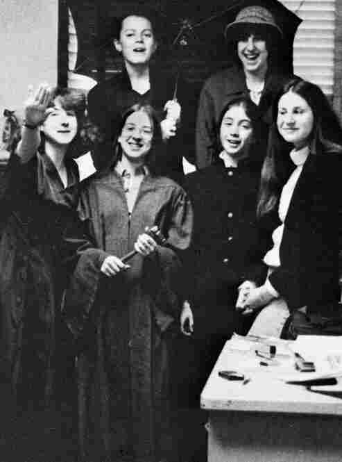 Kagan (second from left in the front row) poses with members of the Hunter College High School student government in New York. Kagan, wearing a robe and holding a gavel, was the student council president.