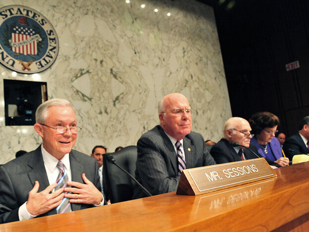 Sen. Jeff Sessions(L),R-AL, questions Su