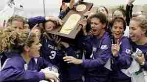 University of Portland players celebrate after winning the 2005 NCAA Women's College Cup.