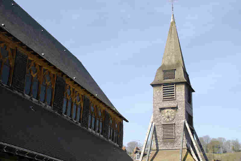 The bell tower of Sainte Catherine. The church is unusually shaped — it resem