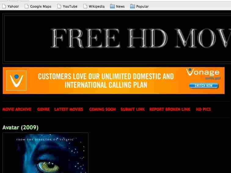 A screen shot of the ads found on pirate sites.