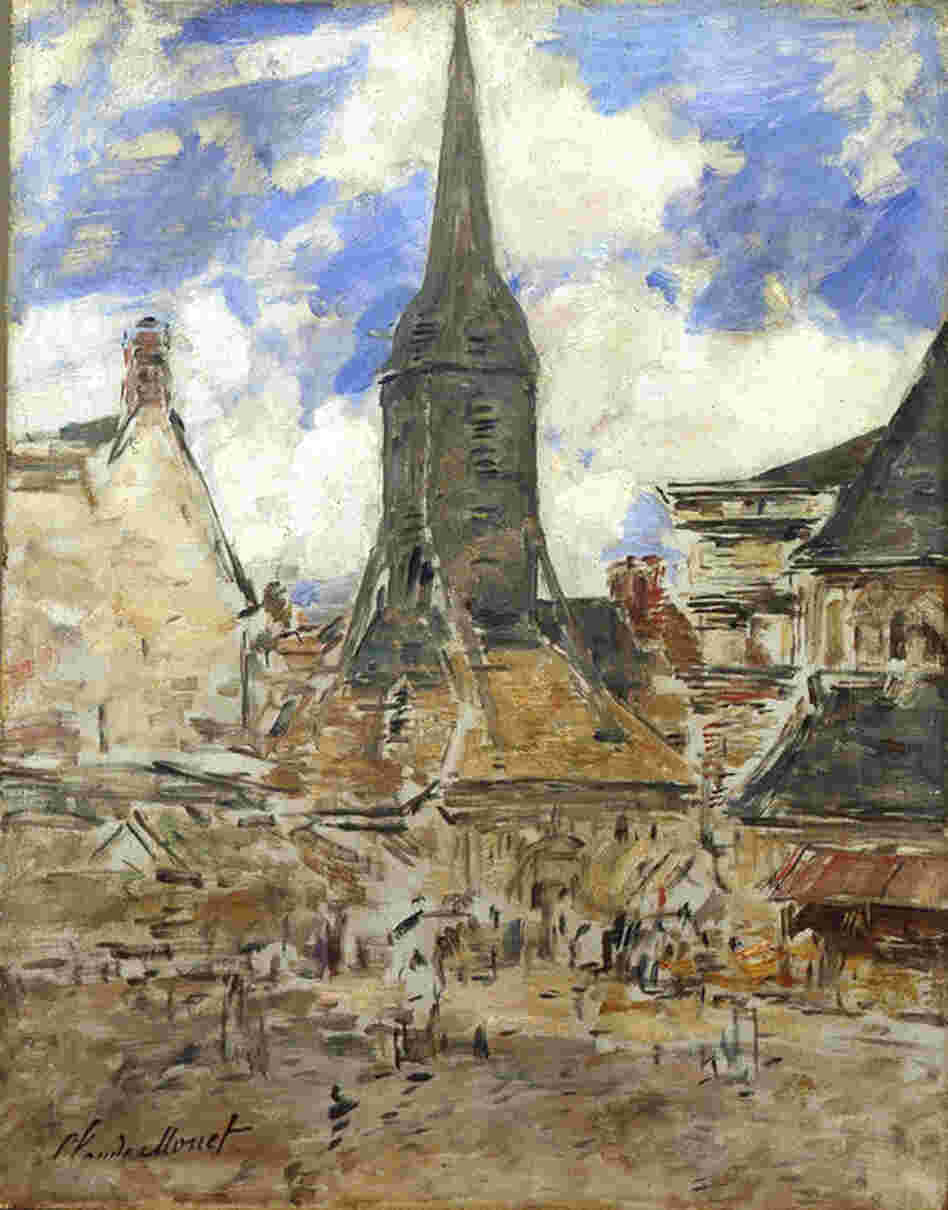 Le clocher Sainte-Catherine by Claude Monet, 1867. The bell tower of Sainte Catherine, located in the village of Honfleur in Normandy, is not actually connected to the church itself. The builders wanted to prevent the church roof from collapsing under the weight of the bells, and they also wanted to avoid a fire in the church in case the tower was hit by lightning. (Musee Eugène Boudin, ...