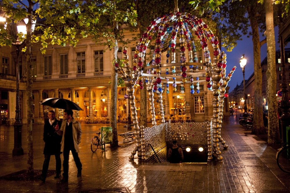 Le Kiosque des Noctambules, an installation built by artist Jean-Michel Othoniel in 2000, marks the entrance to the metro station Palais Royal - Musee du Louvre.