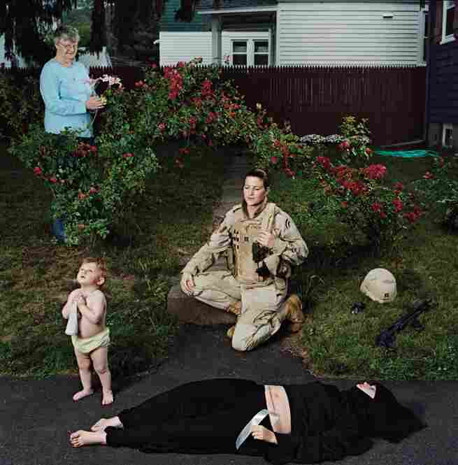 Capt. Elizabeth A. Condon, New York Army National Guard, veteran of Operation Iraqi Freedom, with daughter, Kate, and mother, Elizabeth; Troy, N.Y., June 2008