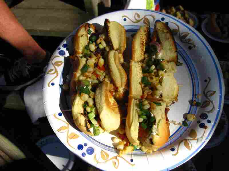 """Spicy """"corn"""" dog: pan-roasted corn in a homemade habanero butter with scallions and sour cream"""