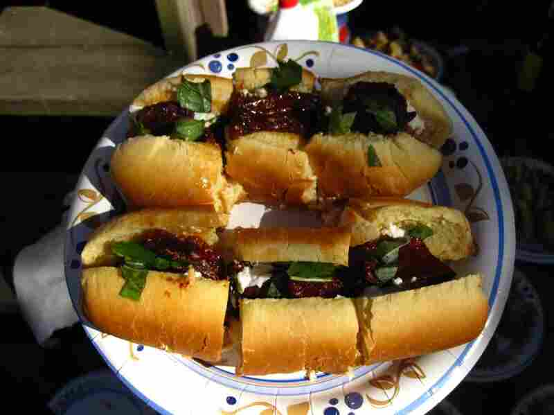Sun-dried tomato, fresh basil and feta dog