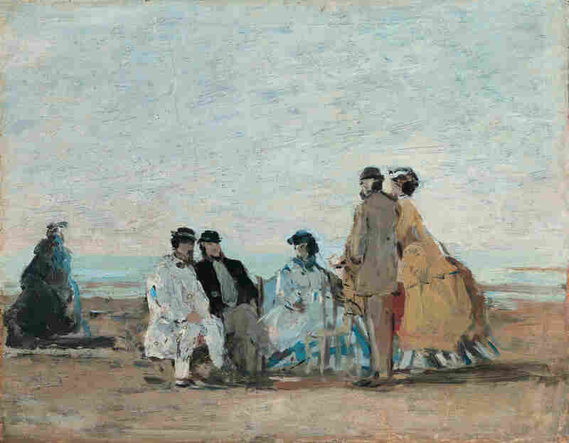 Personnages sur la plage de Trouville by Eugène Boudin, 1865. Boudin advised the young Monet to paint outdoors, or en plein air, in order to take advantage of natural light. Soon, painting en plein air would become a hallmark of the impressionist movement.