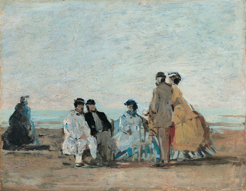 personnages sur la plage de trouville by eugne boudin 1865 boudin advised the young